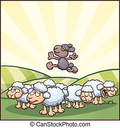 Black sheep - Happy cartoon black sheep. Vector clip art...