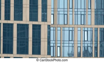 Vertical tilt telephoto shot of business district...
