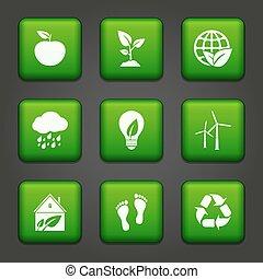Vector Green Environmental Buttons