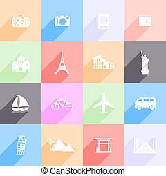 Travel and landmarks flat icons with long shadow
