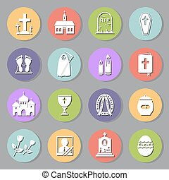 Funeral flat icons set