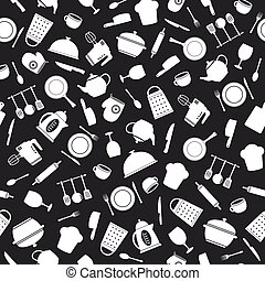 Seamless kitchen tools pattern