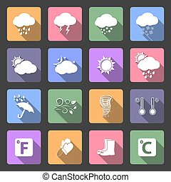 Weather flat icons - Weather icons, flat design vector