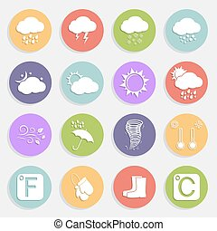 Weather flat icons - Weather vector flat icons set