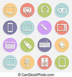 Technology and multimedia icons