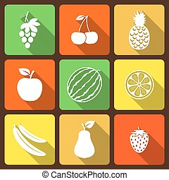 Fruits and berries flat icons with long shadow