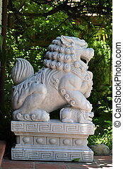 Lion Statue - Lion statue sculptured in stone at a resort in...