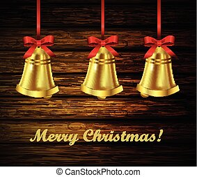 Jingle bells with red bow on a wooden rustic background....