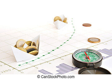 Right way for investments - Paper ships carring coins along...