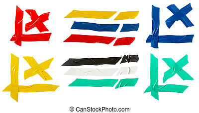 color tape group - close up of pieces of colorful adhesive...