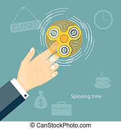 spinning time - Flat modern design concept of playing with...