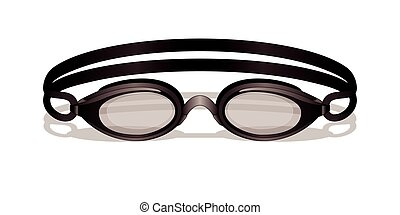 swim goggles on white background with shadow
