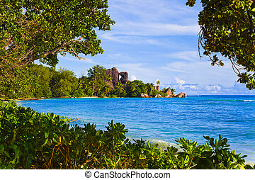 Tropical beach Source D'Argent at Seychelles - Tropical...