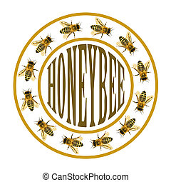 group of bee or honeybee in the circle with text - group of...