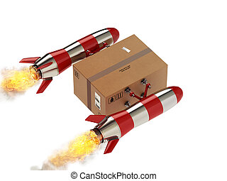 Fast delivery of package by turbo rocket. 3D Rendering -...