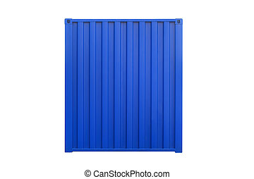 Cargo container isolated on white background. Blue side of...