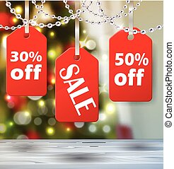 Boxing day tag - Boxing day sale tags with christmas lights...