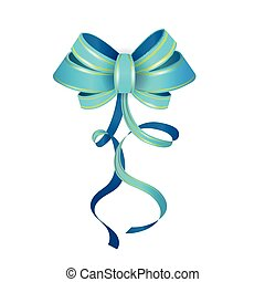 Vector Isolated Blue Gift Bow