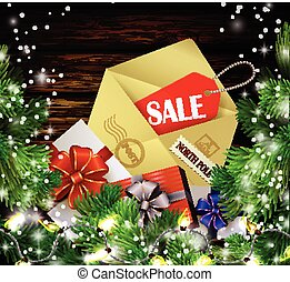 Boxing day background with gift boxes and christmas tree...