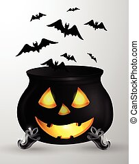 Cartoon Halloween witchs cauldron with Jack O Lantern eyes...