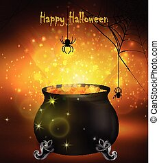 Halloween witches cauldron with yellow potion and spiders on...