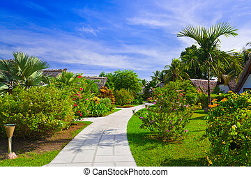 Pathway and bungalows in tropical park - abstract travel...
