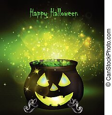 Halloween witches cauldron with Jack O Lantern face and...