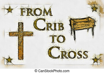 Crib to Cross Christian Art (Line Drawing) - Crib to Cross...