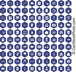 100 criminal offence icons hexagon purple - 100 criminal...