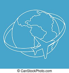 Travelling around the world icon, outline style