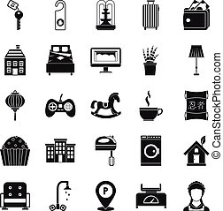 Small house for rest icons set, simple style - Small house...