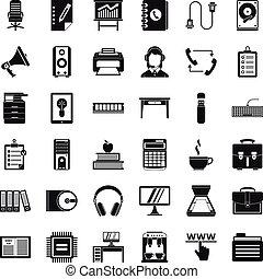 Work folder icons set, simple style - Work folder icons set....