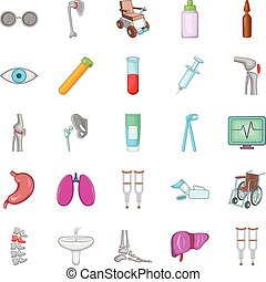 Polyclinic icons set, cartoon style - Polyclinic icons set....
