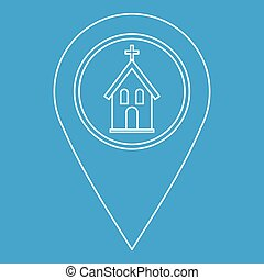 Geo tag with church symbol icon, outline style
