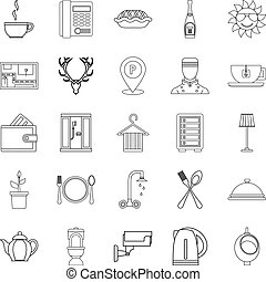 Furnished rooms icons set, outline style - Furnished rooms...