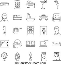 Lodging icons set, outline style - Lodging icons set....