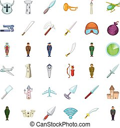 Cold war icons set, cartoon style - Cold war icons set....