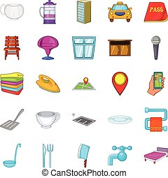 Bursa icons set, cartoon style - Bursa icons set. Cartoon...