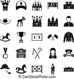 Horsemanship icons set, simple style - Horsemanship icons...