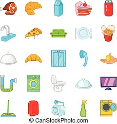 Hotel room icons set, cartoon style - Hotel room icons set....