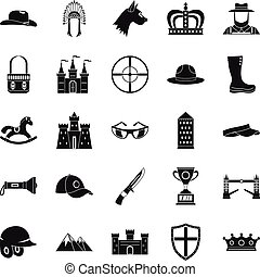 Equestrian icons set, simple style - Equestrian icons set....