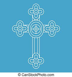 Christian cross jewelry icon, outline style
