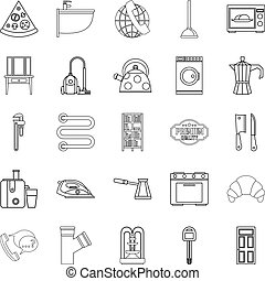 Rooming house icons set, outline style - Rooming house icons...