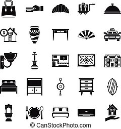 Tourist house icons set, simple style - Tourist house icons...