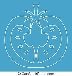 Tomato icon, outline style - Tomato icon blue outline style...