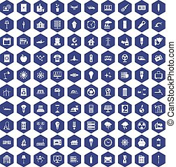 100 electricity icons hexagon purple