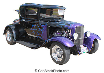 Hot Rod - A hot rod with purple flames isolated.