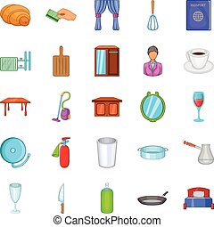 Boarding house icons set, cartoon style - Boarding house...