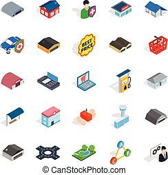 Homely icons set, isometric style - Homely icons set....