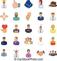 Labor resources icons set, cartoon style - Labor resources...